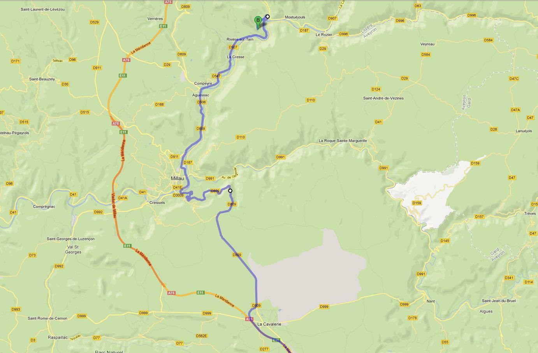 Route de Peyrelade - gîtes de Peyrelade